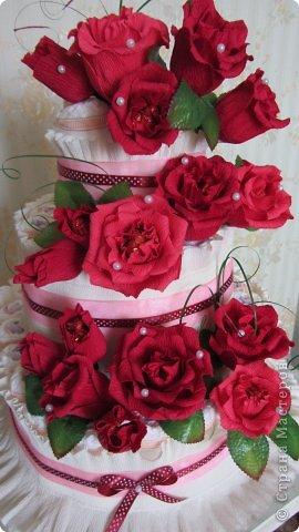 Торт из памперсов - подарок будущей крестнице на рождение фото 1