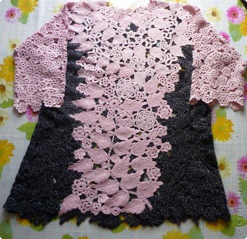 Имитация под блузку с жилетом.Ирландское вязание. фото 6