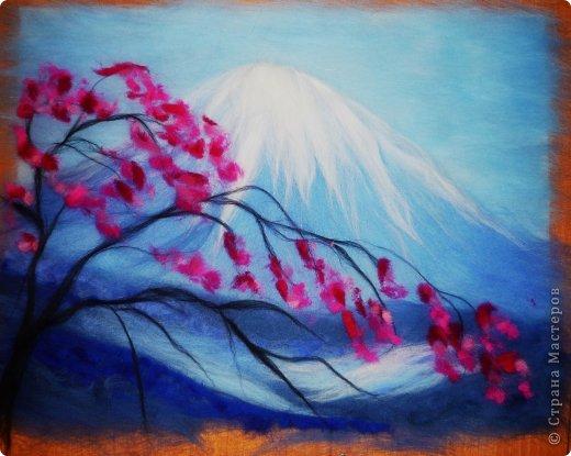 Картина панно рисунок Мастер-класс 8 марта Валяние фильцевание Картина из шерсти Весенний пейзаж Шерсть фото 18