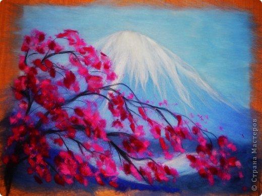 Картина панно рисунок Мастер-класс 8 марта Валяние фильцевание Картина из шерсти Весенний пейзаж Шерсть фото 19