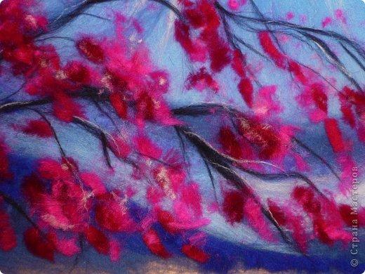 Картина панно рисунок Мастер-класс 8 марта Валяние фильцевание Картина из шерсти Весенний пейзаж Шерсть фото 21