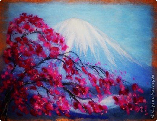 Картина панно рисунок Мастер-класс 8 марта Валяние фильцевание Картина из шерсти Весенний пейзаж Шерсть фото 22