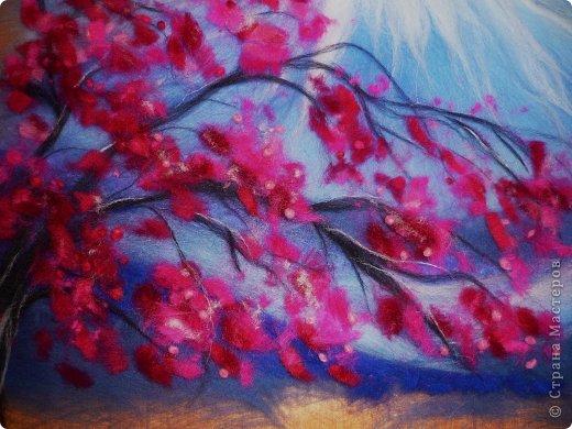 Картина панно рисунок Мастер-класс 8 марта Валяние фильцевание Картина из шерсти Весенний пейзаж Шерсть фото 23