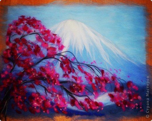Картина панно рисунок Мастер-класс 8 марта Валяние фильцевание Картина из шерсти Весенний пейзаж Шерсть фото 24