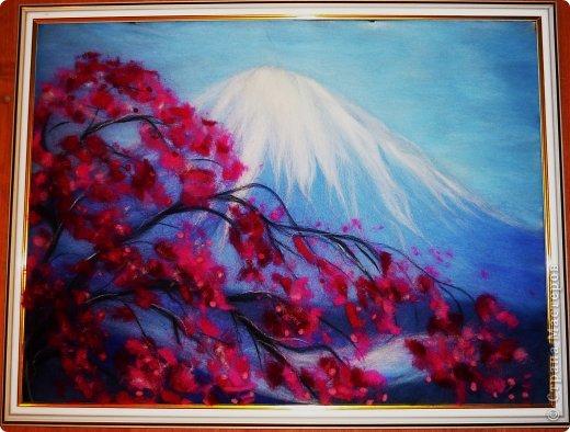 Картина панно рисунок Мастер-класс 8 марта Валяние фильцевание Картина из шерсти Весенний пейзаж Шерсть фото 26