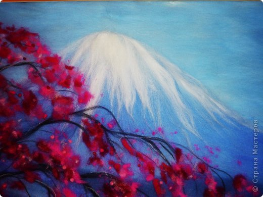 Картина панно рисунок Мастер-класс 8 марта Валяние фильцевание Картина из шерсти Весенний пейзаж Шерсть фото 25