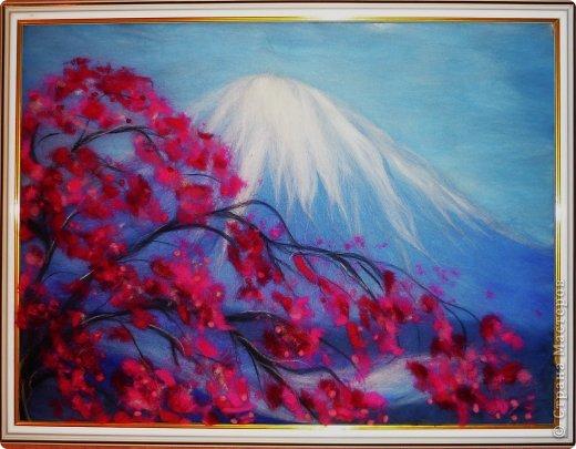 Картина панно рисунок Мастер-класс 8 марта Валяние фильцевание Картина из шерсти Весенний пейзаж Шерсть фото 1