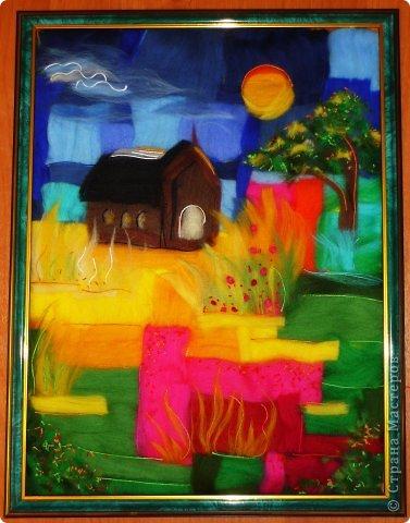 Картина панно рисунок Мастер-класс Валяние фильцевание Пэчворк Рисование и живопись Шерстяная живопись Абстракция в стиле пэчворк  Нитки Шерсть фото 1