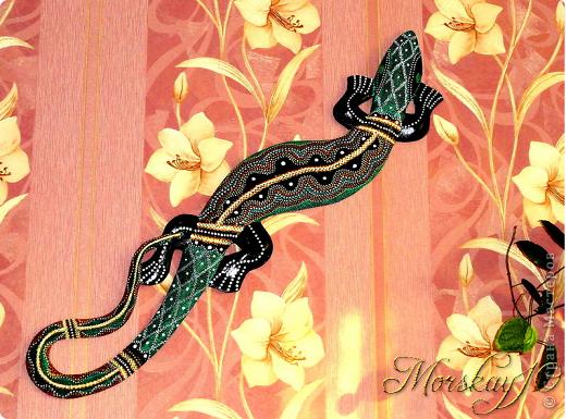 Мастер-класс Папье-маше Роспись Ящерка на стену Клей Краска Салфетки