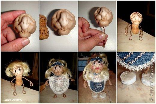 """Давно собиралась сделать ведьмочку- домоправительницу и хранительницу домашнего очага, но не знала, какую технику применить, и вот, наконец, решила, что это будет миниатюрная текстильная куколка. А поскольку очень люблю работать с джинсовой тканью, то получилась бабулька в стиле """"Деним""""...  фото 8"""