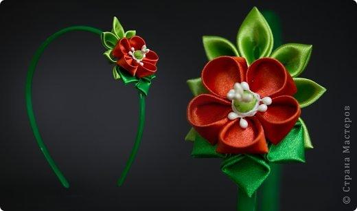 я сделала этот цветок на 3-й день после моего первого знакомства с канзаши )  фото 34