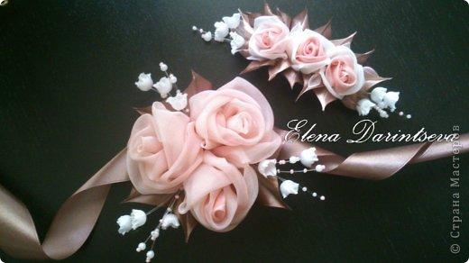 Роза из ленты на платье