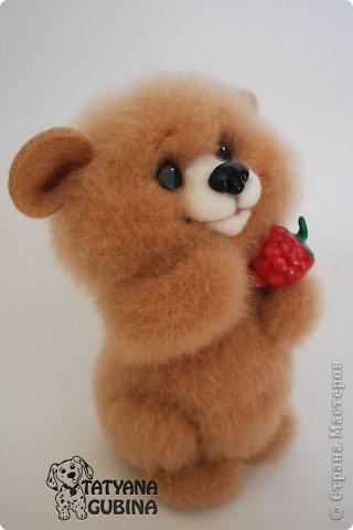 Малышонок Егорка. Ласковый, милый и добрый медвежонок. Любит подкрепиться малинкой :) Высота 19 см. Егорка- 100 % шерсть. Носик, глазки, малинка из пластики. Малинка расписана вручную. фото 2