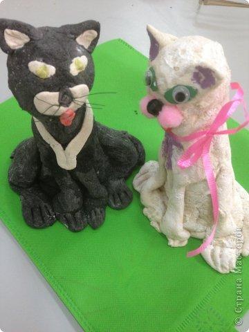 Кот и кошечка из соленого теста. фото 4