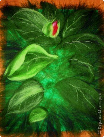 Картина панно рисунок Мастер-класс Валяние фильцевание Рисование и живопись МК Роза из шерсти Шерсть фото 12
