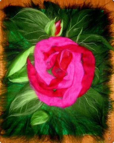 По вашим просьбам подготовила МК на тему: как выложить розу из шерсти просто и быстро (как мне кажется :))  Решила все показать на примере конкретной картины. Это уже итог. А ниже будут поэтапные фото и пояснения.  фото 19
