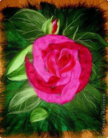 Картина панно рисунок Мастер-класс Валяние фильцевание Рисование и живопись МК Роза из шерсти Шерсть фото 21