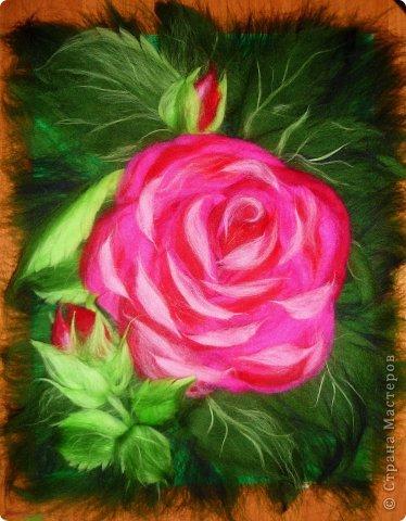Картина панно рисунок Мастер-класс Валяние фильцевание Рисование и живопись МК Роза из шерсти Шерсть фото 30