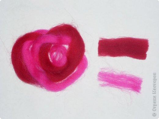 Картина панно рисунок Мастер-класс Валяние фильцевание Рисование и живопись МК Роза из шерсти Шерсть фото 38