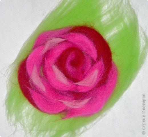 Картина панно рисунок Мастер-класс Валяние фильцевание Рисование и живопись МК Роза из шерсти Шерсть фото 45