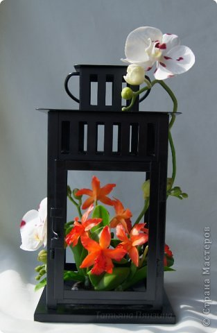 Но ярко-красный огненный цветок  Ты сорвать однажды захотела.  И опять, как белый мотылёк,  На его сиянье полетела.  Только сложится нелегко  Дружба пламени с мотыльком...  Композиция с орхидеями. Цветы выполнены из специальной полимерной глины для лепки цветов (modern clay, modena clay, Flower Clay ), по составу близкой к холодному фарфору. Уникальные свойства глины позволяют проработать самые тонкие детали. Лепестки и листья готового цветка, после полного высыхания, остаются немного гибкими. фото 2