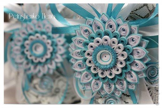 Декор предметов Поделка изделие Свадьба Квиллинг Свадебный набор в технике квиллинг Бумажные полосы Кружево Ленты фото 1