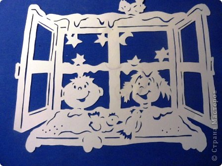 Картина панно рисунок Вырезание Дети у окна Бумага фото 8