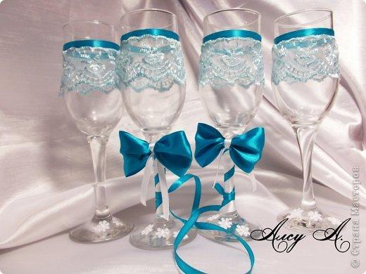Свадебные бокалы с лентами своими руками фото