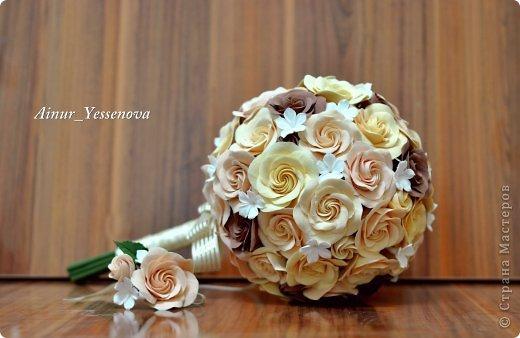 Украшение Флористика искусственная Свадьба Лепка Свадебный букет из викторианских роз и бутоньерка к нему Глина фото