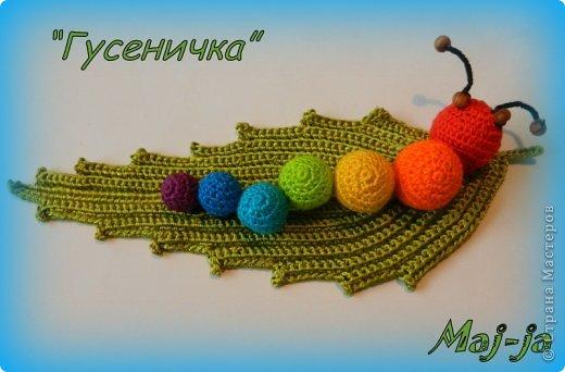 Игрушка Мастер-класс Праздник осени Вязание крючком Вязаная развивающая игрушка Гусеничка Нитки