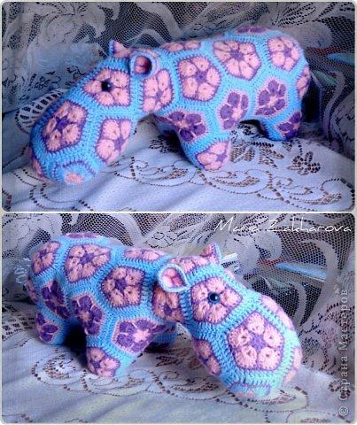 Игрушка Вязание крючком Цветочный бегемот Пряжа фото 1.