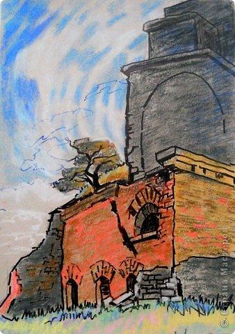 Добрый день или вечер мастера и мастерицы. Выкладываю очередные рисунки и картины В.Д. Попова. На этот раз - г. Кронштадт . Эта работа висит сейчас в музее г. Кронштадта. фото 10