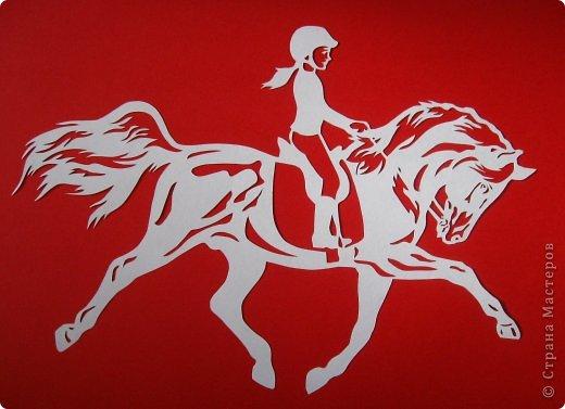 Картина панно рисунок Новый год Вырезание Лошадки Бумага фото 3