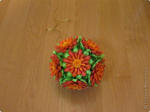 Ромашковый шарик мой. Мне нравится, но пришлось повозиться. Может, кому-то это будет просто. Собрать лепестки в чашелисник - еще полбеды, но приклеить ромашки на электру мне было непросто. Они соприкасаются только в нескольких точках (ребро к ребру), т.е. клея там буквально капля. Может, если делать цветы чуть меньше, они сядут глубже и будет площадь склеивания больше. Цветы, конечно нетяжелые, держатся, но все же для меня это отрицательный момент в этой кусудамке. НО повозиться стоило! Получилось красиво на мой взгляд =) Спасибо автору за МК https://stranamasterov.ru/node/60574 фото 26