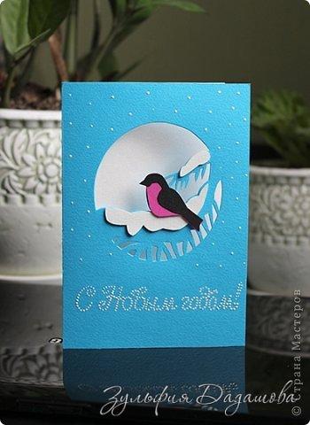 Мастер-класс Открытка Новый год Рождество Вырезание Новогодняя открытка Снегирь Бумага фото 2