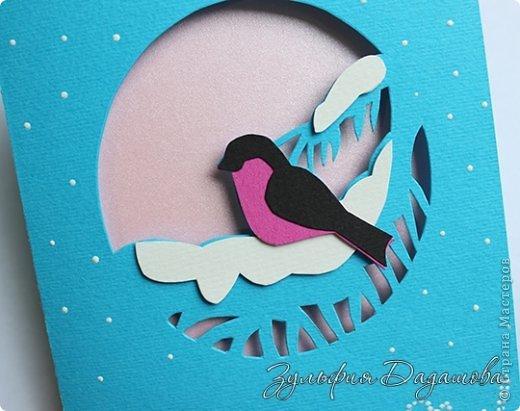 Мастер-класс Открытка Новый год Рождество Вырезание Новогодняя открытка Снегирь Бумага фото 3