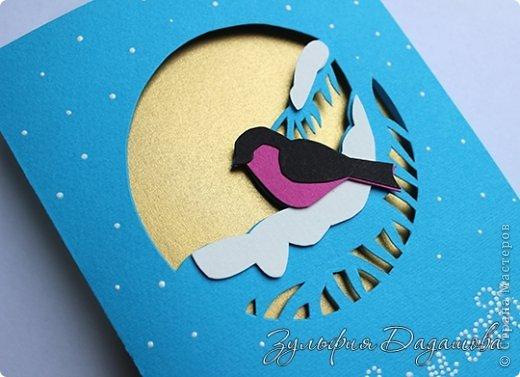 Мастер-класс Открытка Новый год Рождество Вырезание Новогодняя открытка Снегирь Бумага фото 5