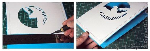 Мастер-класс Открытка Новый год Рождество Вырезание Новогодняя открытка Снегирь Бумага фото 7