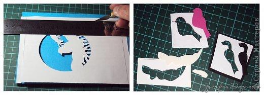 Мастер-класс Открытка Новый год Рождество Вырезание Новогодняя открытка Снегирь Бумага фото 8