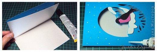 Мастер-класс Открытка Новый год Рождество Вырезание Новогодняя открытка Снегирь Бумага фото 10