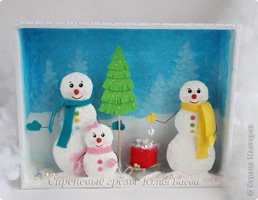 Мастер-класс Новый год Новый Год в семье Снеговиковых Бумага Бусинки Вата Картон гофрированный Клей Краска фото 1