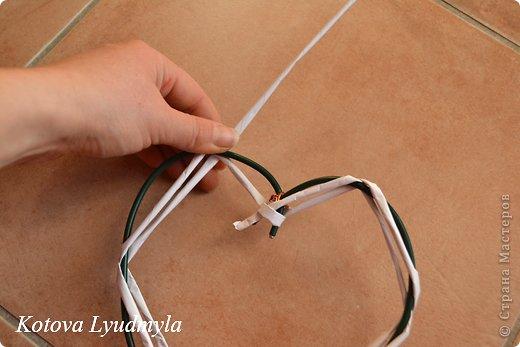 Мастер-класс Поделка изделие Новый год Аппликация Плетение Плетенные сердечки из бумажных трубочек Бумага Клей Краска Ленты Фетр фото 16
