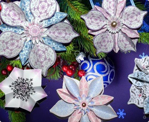 Пока мы все преображаем свои дома новогодними украшениями, хочу предложить вам сделать такие объемные «снежинки». Возможно, подобные формы уже на сайте присутствуют, значит, я предложу свою версию.