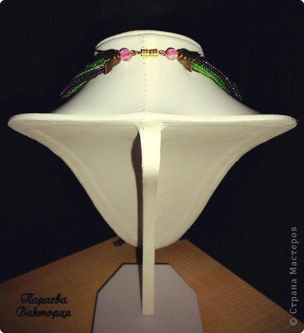 """Колье """"Райский Птицекрыл"""" выполнено из чешского бисера, бабочка в технике кирпичное плетение по книге Н.Бушевой.  фото 3"""