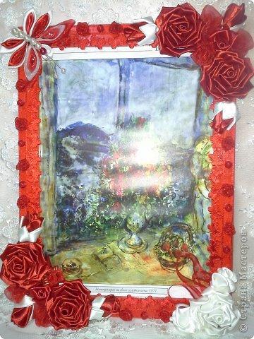 Фоторамка Фиолет №2.(Фото 050) обтянута тканью,украшена цветами из ракушки,радужным бисером,сваровски,для фото 10х15 см.  фото 58