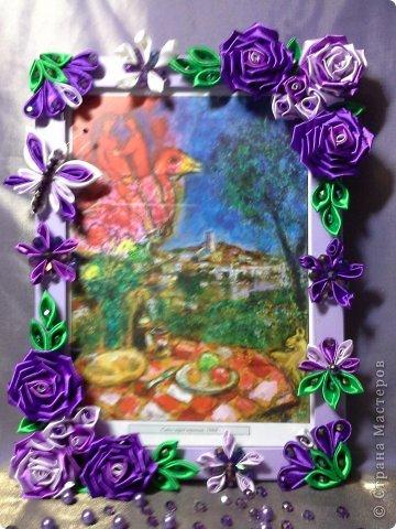 Фоторамка Фиолет №2.(Фото 050) обтянута тканью,украшена цветами из ракушки,радужным бисером,сваровски,для фото 10х15 см.  фото 62