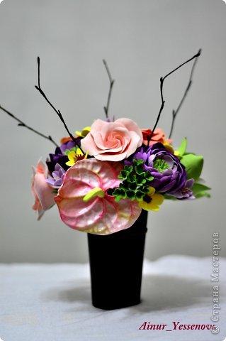 Композиция цветочная в подарок (ручная работа из полимерной глины) фото 2