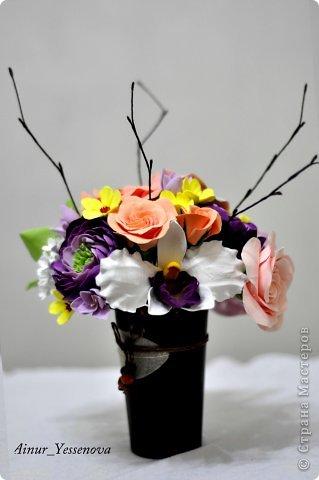 Композиция цветочная в подарок (ручная работа из полимерной глины) фото 3