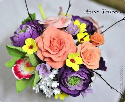 Композиция цветочная в подарок (ручная работа из полимерной глины) фото 4