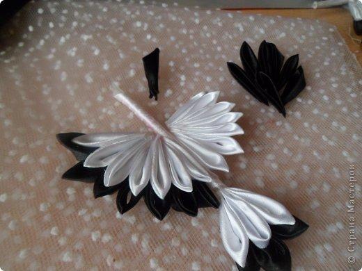 Мастер-класс Поделка изделие Цумами Канзаши Аист из атласной ленты МК Ленты фото 16